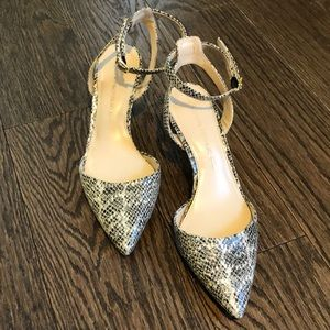 Banana Republic Leather Snakeskin Print Heels